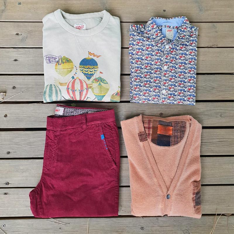 outfit maglia, felpa, camicia e pantalone di bob company da uomo