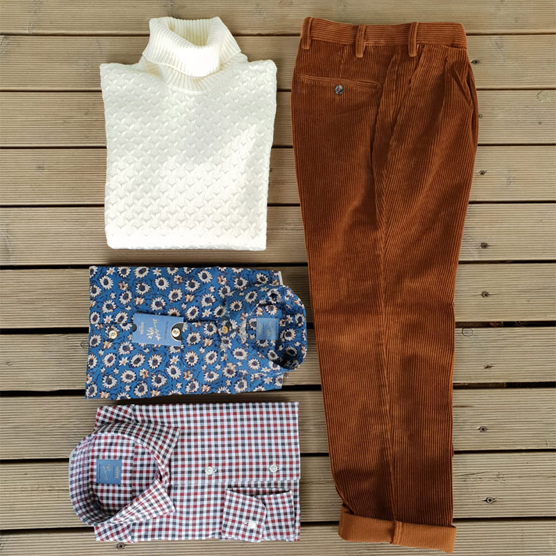 pantalone in velluto marrone, maglia collo alto di lana bianca, camicie fantasia da uomo di marca barba napoli in vendita presso unionmoda