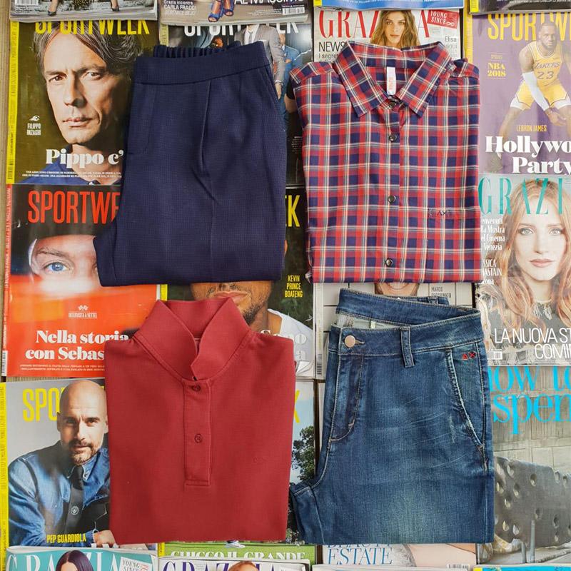 Outfit abbigliamento camicia, pantalone, t-shirt del marchio Sun68 da donna