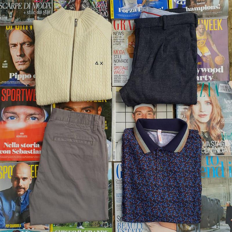 outfit abbigliamento da uomo pantalone, camicia, polo, t-shirt da uomo del marchio Sun68