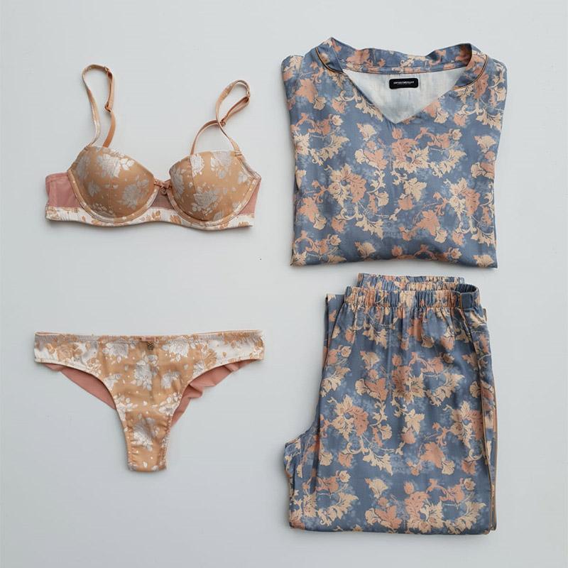 outfit intimo donna a fantasia, reggiseno mutande e pigiama